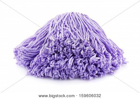 Pink mop isolated on white background, close up picture.