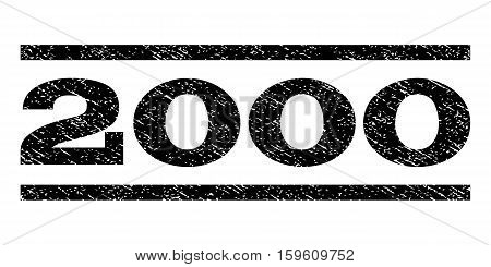 2000 watermark stamp. Text caption between horizontal parallel lines with grunge design style. Rubber seal black stamp with unclean texture. Vector ink imprint on a white background.