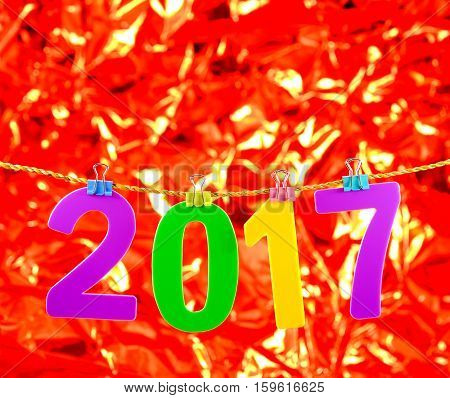 New Year 2017 number on red background.