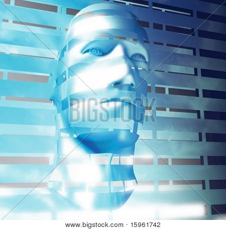 abstract sci-fi human face