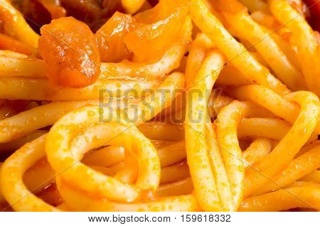 Detailed Macro Image Of Cooked Spaghetti