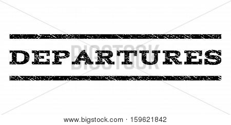 Departures watermark stamp. Text caption between horizontal parallel lines with grunge design style. Rubber seal black stamp with unclean texture. Vector ink imprint on a white background.