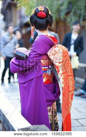 Young Maiko On A Street Of Gion, Kyoto, Japan