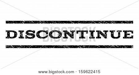 Discontinue watermark stamp. Text tag between horizontal parallel lines with grunge design style. Rubber seal black stamp with scratched texture. Vector ink imprint on a white background.