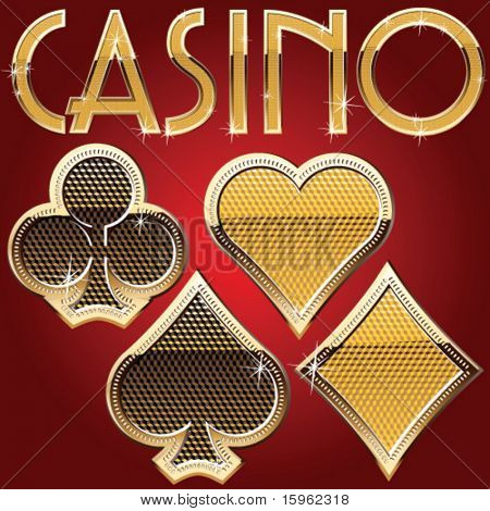 Casino card symbols. Gold style