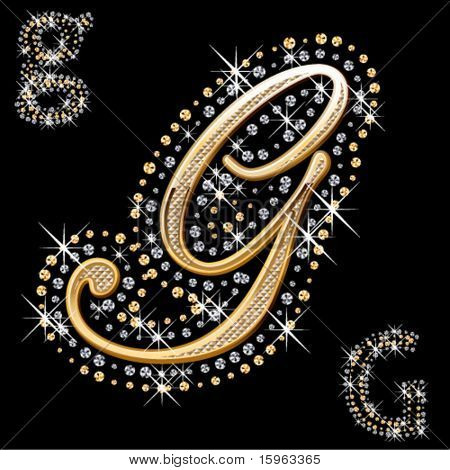 shiny gold and diamond letter