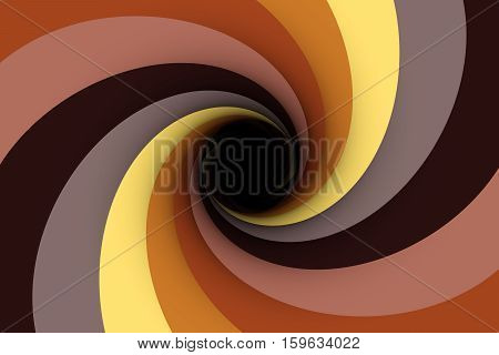 black hole in gray brown colour 3D illustration