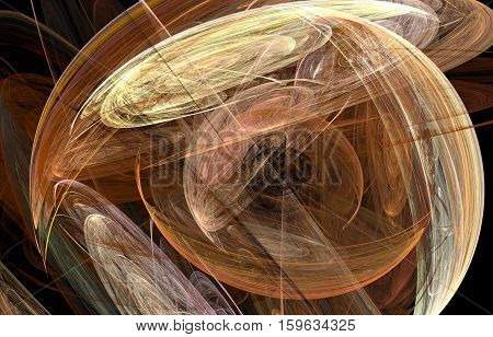 The fractal abstract illustration of ufo-like circles