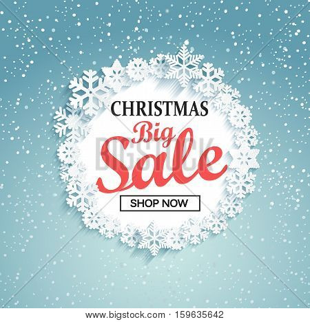 Concept of christmas big sale. Big Sale design on a winter background.