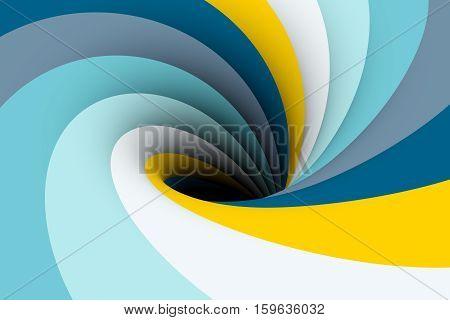 black hole yellow blue color 3D illustration