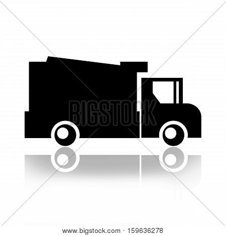 Garbage truck silhouette isolated on white background