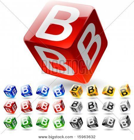 Glossy alphabet on a cubes. Letter b