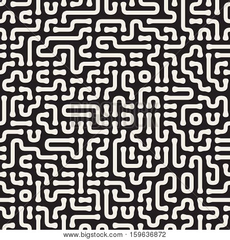 Irregular Rounded Lines Cirquit. Abstract Geometric Background Design. Vector Seamless Black and White Pattern.
