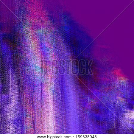 Texture of glitch manipulations. Modern background with dead pixel and bug glitch and error signal in purple shades. It can be used for web design and visualization of music.