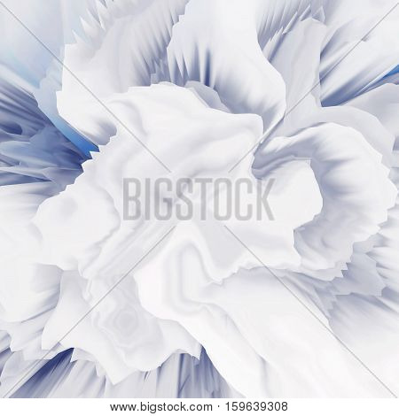 Background of glitch manipulations with 3D effect. Abstract flow of crystals with glass texture in white and blue shades. It can be used for web design and visualization of music