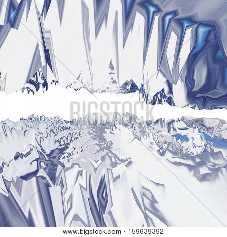 Background of glitch manipulations with 3D effect. Abstract artistic forms in blue and white shades. It can be used for web design and visualization of music.