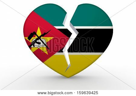Broken White Heart Shape With Mozambique Flag