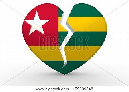 Broken White Heart Shape With Togo Flag