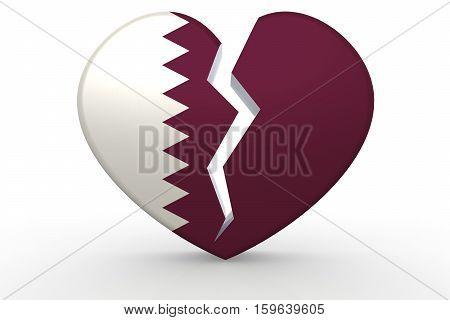 Broken White Heart Shape With Qatar Flag