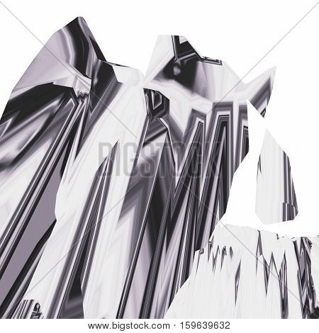 Glitch manipulations with 3D effect. Abstract flow of monochrome crystals. It can be used for web design and visualization of music