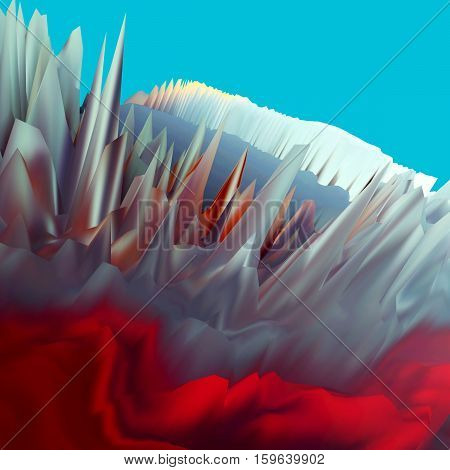 Background of glitch manipulations with 3D effect. Abstract landscape with sharp peaks in red and blue shades. It can be used for web design and visualization of music.
