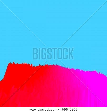 Background of glitch manipulations with 3D effect. Abstract landscape with sharp peaks in red shades on light blue background. It can be used for web design and visualization of music.