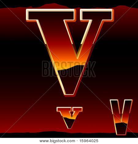 Dramatic dark sunset  styled alphabet letter v