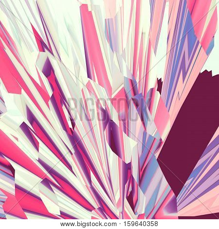 Background of glitch manipulations. Abstract flow of crystals consisting of brightest broken stripes in pink and yellow shades. It can be used for web design and visualization of music