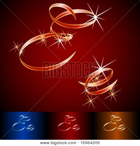 Ribbon styled vector gala alphabet. Applicable for dark and light background. Letter e
