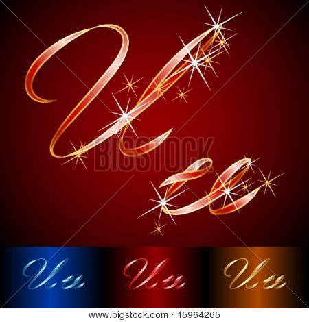 Ribbon styled vector gala alphabet. Applicable for dark and light background. Letter u