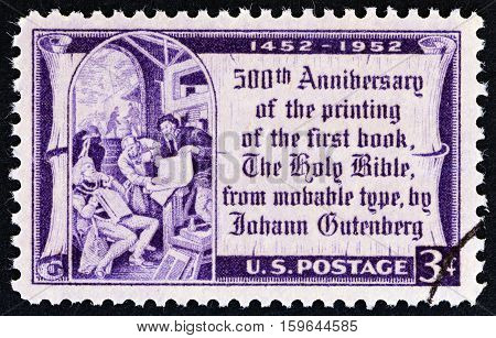USA - CIRCA 1952: A stamp printed in USA issued for the 500th anniversary of printing of first book from movable type shows Gutenberg and Elector of Mainz (after Edward Laning), circa 1952.