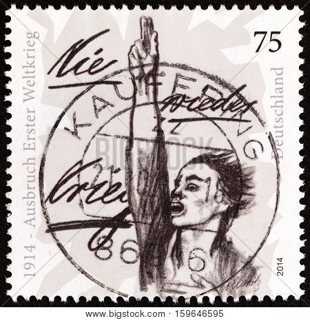 GERMANY - CIRCA 2014: A stamp printed in Germany issued for the 100th anniversary of the beginning of World War I shows No more War, ever, circa 2014.