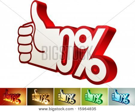 Symbol of discount or bonus on stylized hand