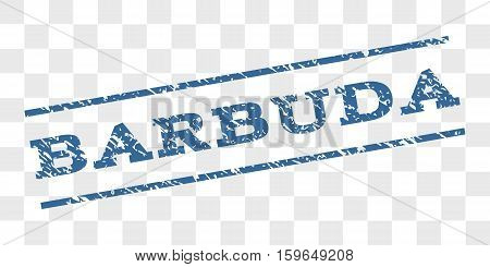 Barbuda watermark stamp. Text tag between parallel lines with grunge design style. Rubber seal stamp with dirty texture. Vector cobalt blue color ink imprint on a chess transparent background.