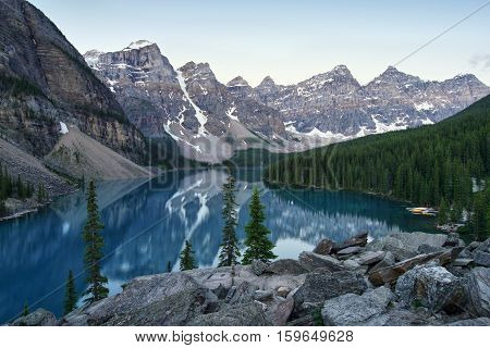 Moraine Lake is a glacially fed lake in Banff National Park outside the Village of Lake Louise, Alberta, Canada.