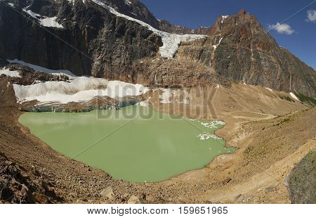 Green glacial lake. Canadian Rockies. Alberta, Canada