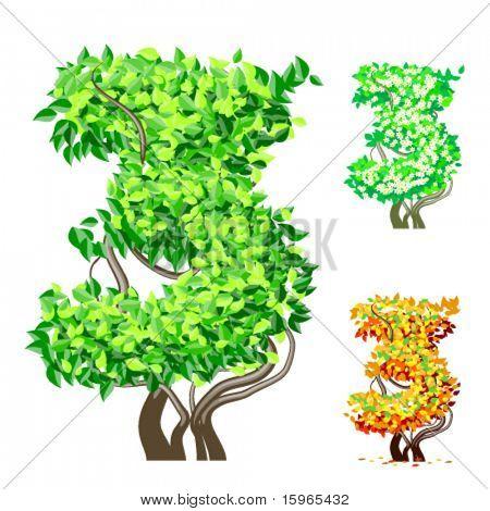 Vektor-Illustration eine zusätzliche detaillierte Baum Alphabet Symbole. Leicht abnehmbare Krone. Zeichen 3