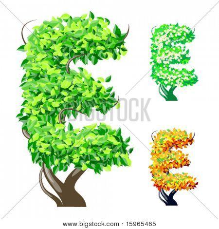 Vektor-Illustration eine zusätzliche detaillierte Baum Alphabet Symbole. Leicht abnehmbare Krone. Zeichen e