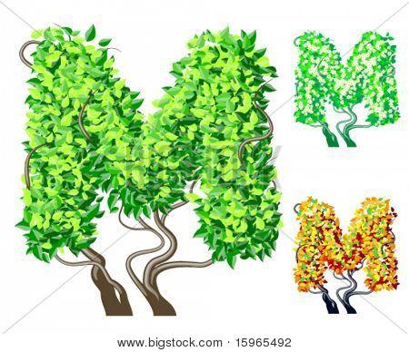 Vektor-Illustration eine zusätzliche detaillierte Baum Alphabet Symbole. Leicht abnehmbare Krone. Zeichen m