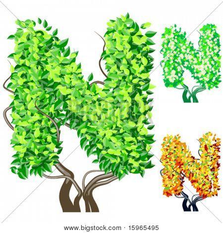 Vektor-Illustration eine zusätzliche detaillierte Baum Alphabet Symbole. Leicht abnehmbare Krone. Zeichen n