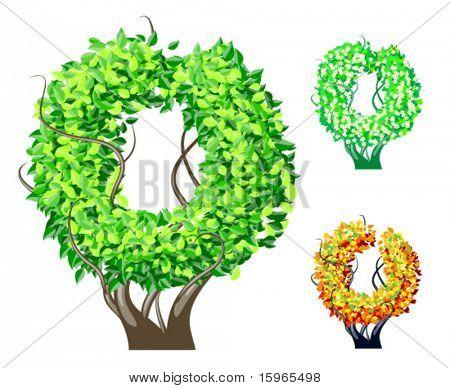 Vektor-Illustration eine zusätzliche detaillierte Baum Alphabet Symbole. Leicht abnehmbare Krone. Zeichen o
