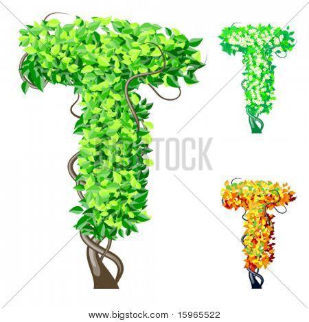 Vektor-Illustration eine zusätzliche detaillierte Baum Alphabet Symbole. Leicht abnehmbare Krone. Zeichen t