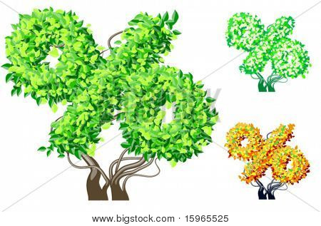 Vector illustration of an extra detailed tree alphabet symbols. Easy detachable crown. character percent