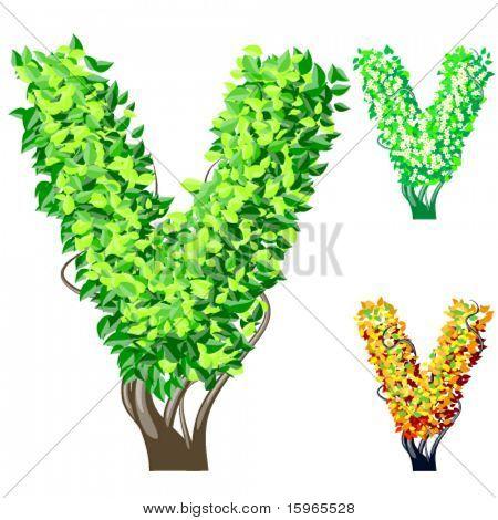 Vektor-Illustration eine zusätzliche detaillierte Baum Alphabet Symbole. Leicht abnehmbare Krone. Buchstaben v