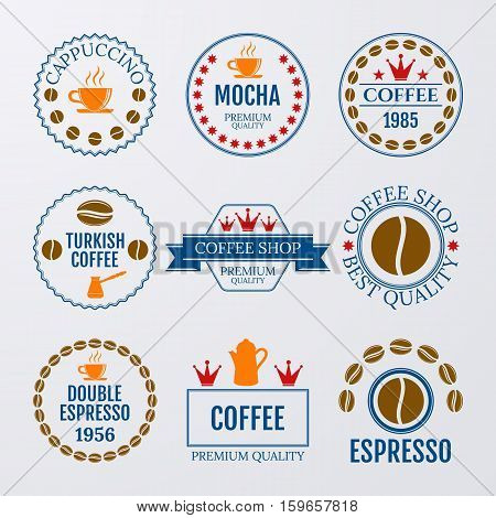 Vector illustration set of logos on coffee theme.
