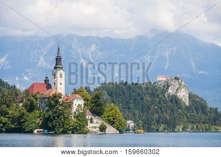 View of the Bled castle and church in Slovenia.