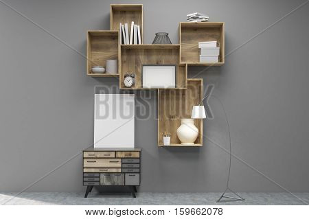 Vertical poster is standing on a set of drawers under wooden bookshelves near gray wall. 3d rendering. Mock up