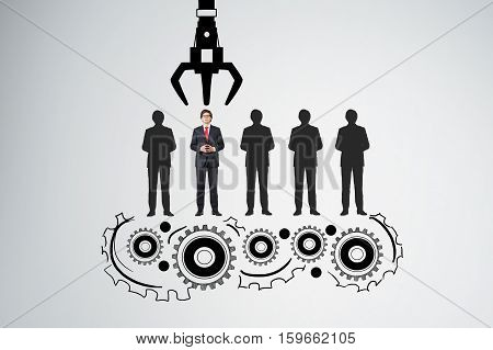 Conveyor belt with a grappling hook picking a businessman from his peers. Concept of HR and recruitment