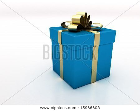 Blue Gift Box With Gold Ribbon
