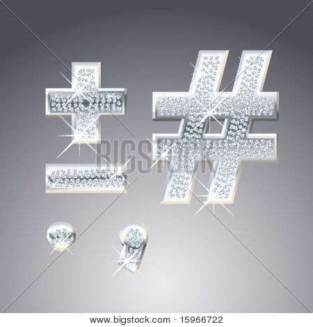 Platinum symbols inlaid of diamond crumbs
